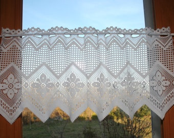 French lace curtain. Antique French white curtain. Vintage french veiling. Interior decor.