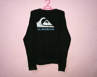 Rare!! Quiksilver Big Logo Spellout Pullover Jumper Sweatshirt