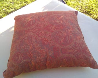 Pillow designs Paisley print cotton quilted retro brick red, ocher, cotton wool