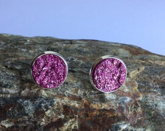Trendy earrings with Polaris of plate Carbochons