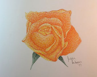 Original Colored Stippled Rose  // ink // dots // flower // illustration // drawing // art // gifts for her // pointillism // dotwork