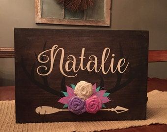 Personalized girls name sign with antlers and burlap accents