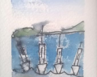 Aceo original art pen plus watercolour'seascape'sea'beach'boats'summer'