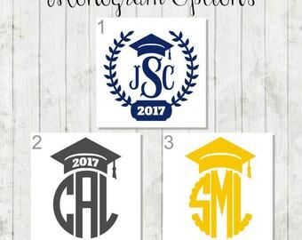 Graduation Monogram Decal - Senior Graduation Gift - College Graduation Gift - Class of 2017 Decal - Graduation Cap Decal - Graduation Decal