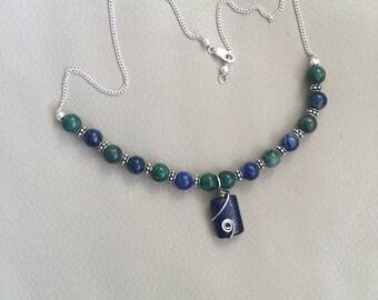 Lapiz beaded necklace
