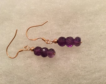 Amethyst and Rose gold earring
