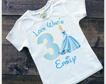 Cinderella Birthday Bodysuit size 6-24 Month; Tee Size 2T and Up; FREE Personalization; Any Age