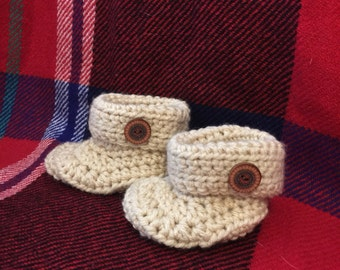 Camel Baby Booties with Buttons