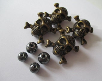 Acrylic Skull and CrossBones Beads