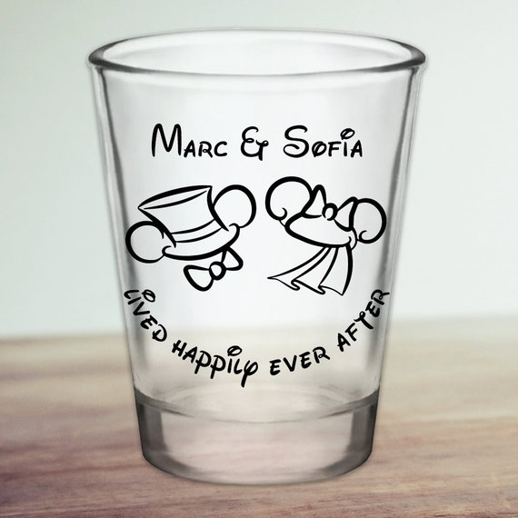 custom disney themed mouse ears wedding favor shot glasses