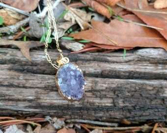 Amethyst druzy gold filled necklace