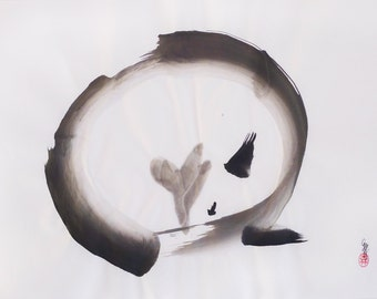 ORIGINAL Enso Fox //Sumi-e / Japanese INK Painting