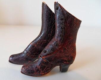 "1 1/2"" Antique Vintage Doll Boots China Head French Fashion Papier Mache Artist"
