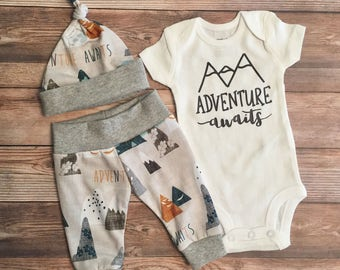 Adventure Awaits Newborn Boy Coming Home Outfit, Newborn Outfit, Baby Boy Outfit, Boy Outfit, Going Home Outfit