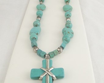 Turquoise and silver beaded cross necklace