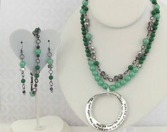 Shimmering greens and grays, 2 strand beaded necklace with pendant, matching earrings and bracelet.