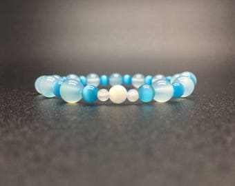 The Blue Bracelet Movement,Blue Chalcedony,Sea Blue Cats eye ,Blue Moon Stone,self-injuries ,self-harm,17cm(6.69inch)