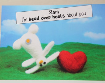 "Personalised funny Valentine's Card ""I'm head over heels about you"""