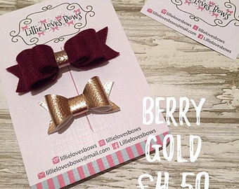 Berry gold duo bow