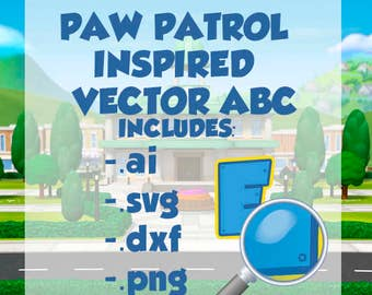 vector ABC inspired by paw patrol
