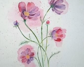 Original watercolour painting of Cosmos flower, watercolour flower painting, nature watercolor
