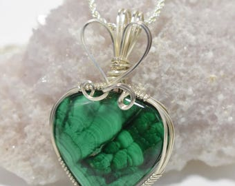 Beautiful Malachite Wrapped in Argentium Silver Pendant