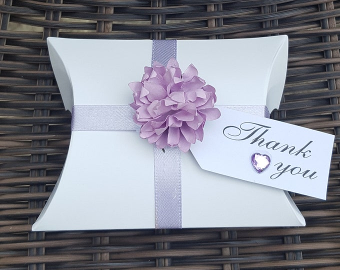 10 Wedding baby shower party pillow box favours  with lilac flower