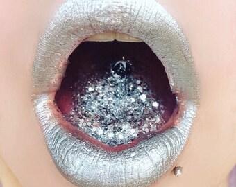 Silver Lip gloss, Lip Potion, Silver lipstick,Lip Gloss, Lipstick, Liquid lipstick, high gloss, gloss, glossy, long wearing, shiny lip gloss