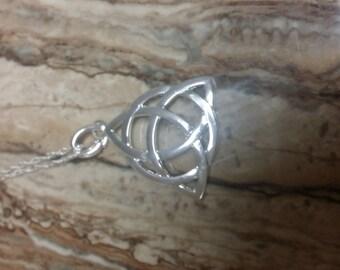 Silver triquetra/ celtic knot necklace