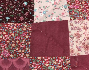 Quilt in Rose: Hand Sewn, Hand Tied, Throw