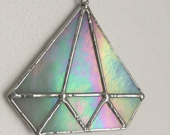 Crystal / diamond sun catcher, iridescent stained glass, handmade / Sonnenfänger Kristall / Diamant