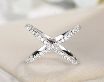 Diamond Eternity Wedding Band women Criss Cross Ring 14k white gold Trending Rings Unique Row X Ring Stacking Promise alternative Knuckle