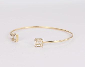 0.77CT Diamond Bangle Bracelet in 14K Rose gold,Minimalist Bracelet,Unique Engagement Bracelet,Wedding,Rose Gold Bangle,Anniversary gift