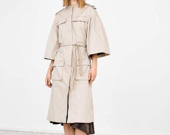 Cotton blend trench-coat with adjustable belt