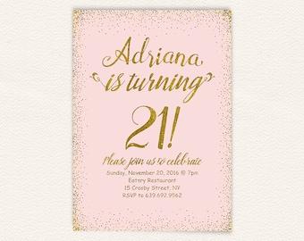 Girly blush pink gold glitter 21st birthday party invitation for women, 21st birthday invitation printable, printable jpg or pdf file 18