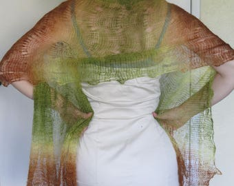 Unique Green/Brown Goat Down Hand-knitted Shawl/Scarf, Imported