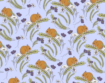Field Mice Quilting fabric by inprint Jane Makower - mice nibbling corn lilac purple fabric, 100% cotton 44 inch wide