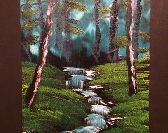 """Oil Painting Landscape Handmade Creek on Canvas Palette Knife Painting Canvas 18""""x24"""""""