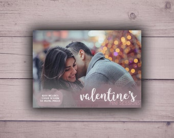 Valentine's Day Mini Session Digital Template 7x5 card | Photographer Marketing Board Booking Ad | Photoshop Template PSD | INSTANT DOWNLOAD