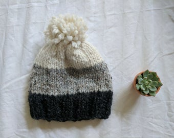 Color Block Beanie With Pom | White, Heather Gray, Charcoal | Ready to Ship