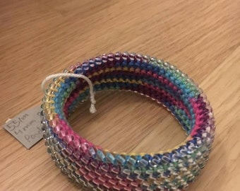 Crocheted multi color bracelet