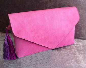 womens clutch bag, womens clutch  pink evening bag, Suede Leather hand Bag, night party bag, clutch bag, Moroccan Handmade Women party bag