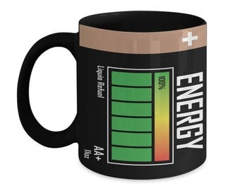 Energy Battery Black 11oz. Mug - Never Lose Charge While Drinking From This Mug