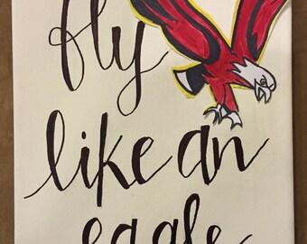 Boston College; fly like an eagle; decor; dorm; art; canvas; painting