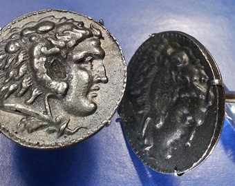 Alexander The Great King of Macedonia Large Unique Coin Cufflinks + Gift Box!