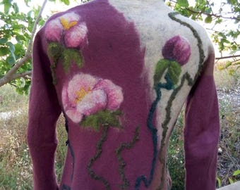 Woman cardigan Nuno felted jacket Fantastic rose ,felt jacket, wool jacket, spring jacket, art jacket,hand made jacket, wool size m-l, 36-38