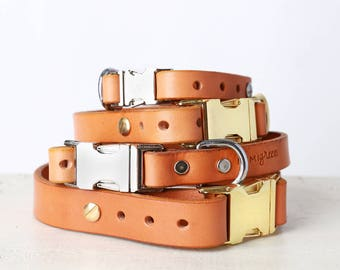Tan Leather Dog Collar -- Classic Side Release Style