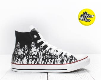 Green Day Damage Control custom made converse sneakers rock style shoes