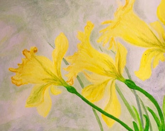 The Daffodils Watercolor Painting