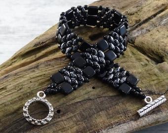 Czech tile and Superduo Bracelet. Black & Silver. Handmade to Order.